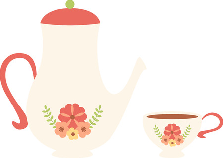 Have a cup of tea with this floral tea set. Ilustrace