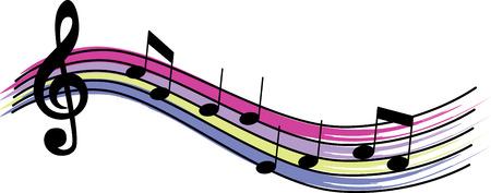 Musikliebhaber werden einige bunte Noten lieben. Standard-Bild - 43896162