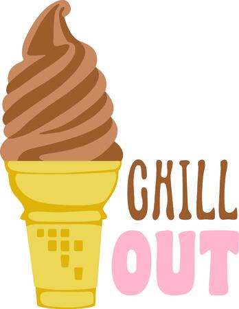 Cone of chocolate soft-served ice cream. 向量圖像