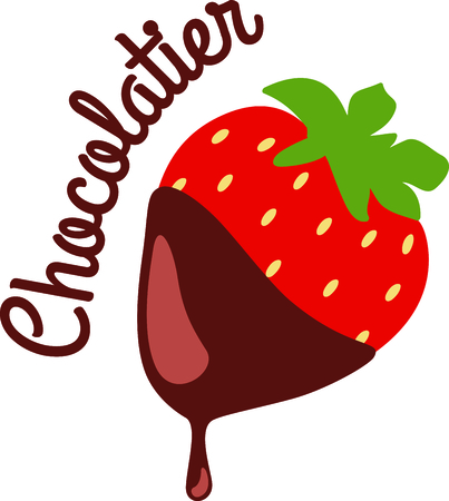 dipped: Strawberry dipped in dripping chocolate. Illustration