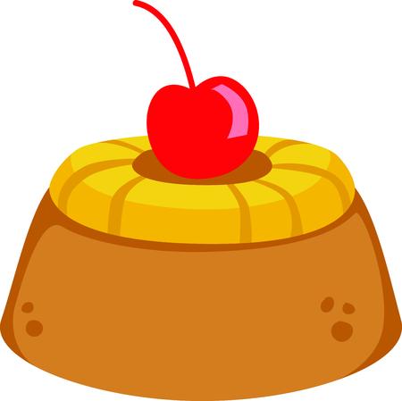 Pineapple upsidedown cake for dessert lovers. Иллюстрация