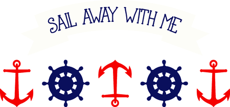 Nautical themed anchor and ship's wheel for sailing enthusiasts.
