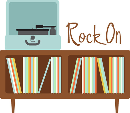 Vector   Vinyl Records Fans Will Love This Turntable And Record Cabinet.
