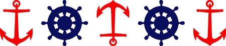 Nautical themed anchor and ship's wheel border.
