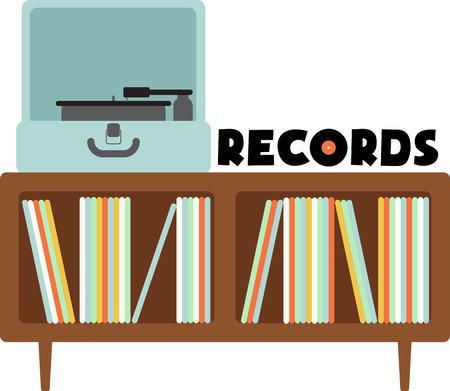 Vinylplaten fans zullen genieten van deze draaitafel en platenkast.