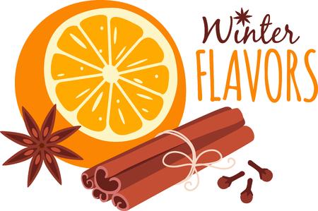Orange and aromatic spices for culinary aficionados. Ilustracja