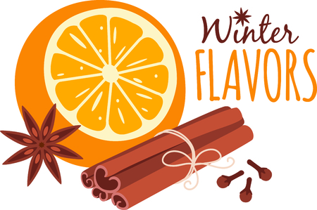 star anise: Orange and aromatic spices for culinary aficionados. Illustration