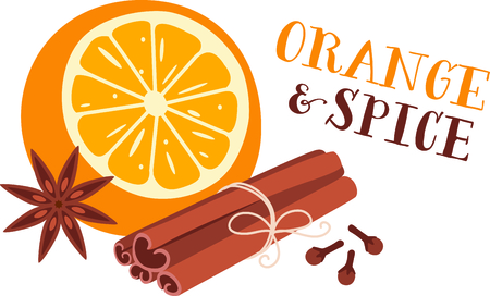 Orange and aromatic spices for culinary aficionados. Ilustração