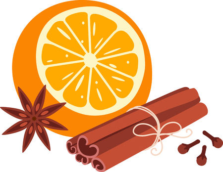 aromatic: Orange and aromatic spices for culinary aficionados. Illustration