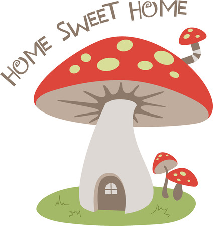 A cute mushroom house is a sweet decoration.