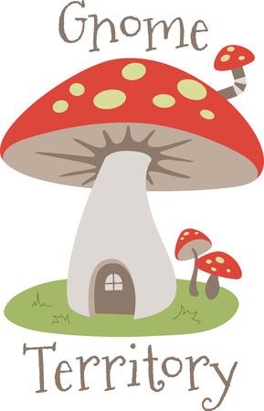 fungi: A cute mushroom house is a sweet decoration.