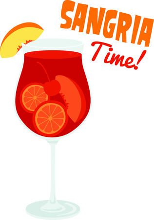 mixed drink: Serve up this Sangria cocktail for your home decor or as a gift. Illustration