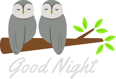 critter: Sleeping owls for baby and small child room decorating or gifts. Illustration