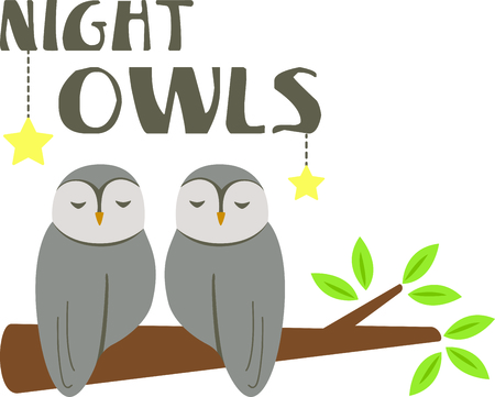 small room: Sleeping owls for baby and small child room decorating or gifts. Illustration