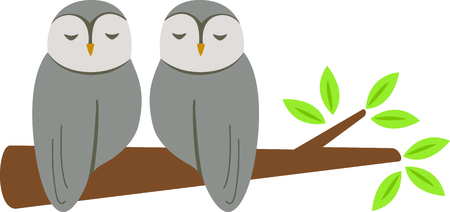 sleeping room: Sleeping owls for baby and small child room decorating or gifts. Illustration