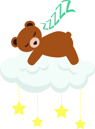 child room: Sleeping teddy bear for baby and small child room decorating and gifts.