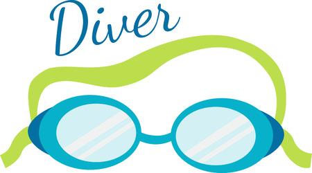 Swim goggles will be a good decoration on a towel or beach bag. Иллюстрация