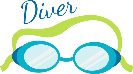 eyewear: Swim goggles will be a good decoration on a towel or beach bag. Illustration