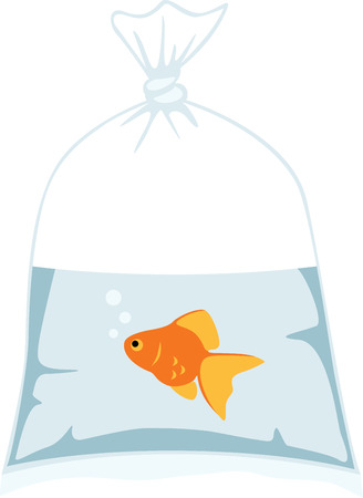 This cute goldfish will be perfect for an aquarium themed project. Ilustracja