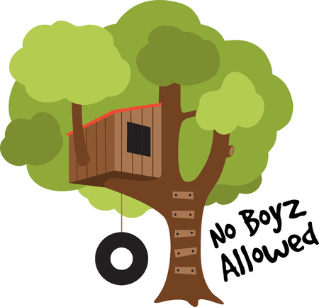 club scene: A tree house will make a great decoration in a childs room. Illustration
