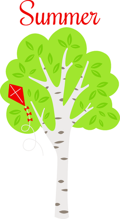 Birch tree with full leaves and a kite in the summertime. Ilustração