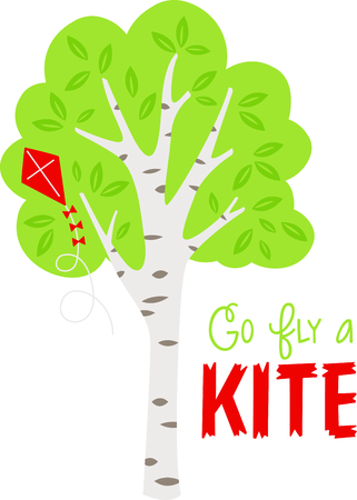 Birch tree with full leaves and a kite in the summertime. Ilustracja