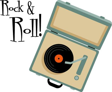 Vinylplaten fans zullen genieten van deze koffer draaischijf voor hun collectie Stock Illustratie