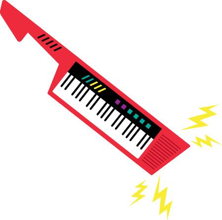 descarga electrica: Meza a su keytar con ondas de choque el�ctrico. Vectores