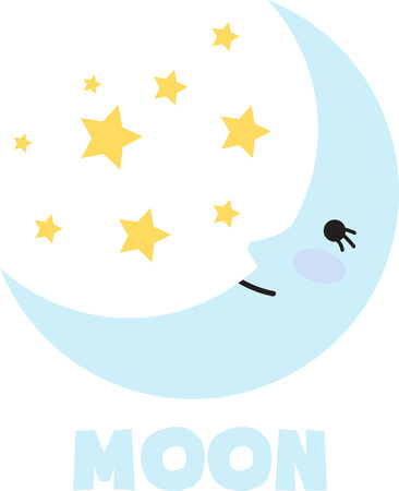 A childs blanket will look sweet with a sleepy moon.