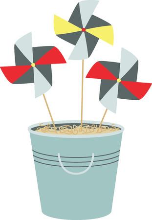 Bucket of pinwheels in the sand.