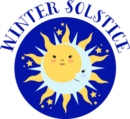 solstice: Celebrate the solstice with an elegant sun and moon.