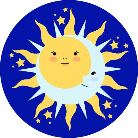 Vier de zonnewende met een elegante zon en de maan.