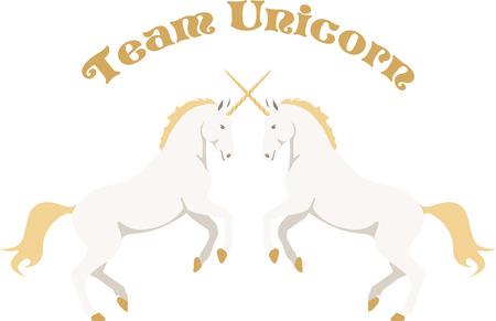 Beautiful unicorns are a wonderful fantasy project. Иллюстрация