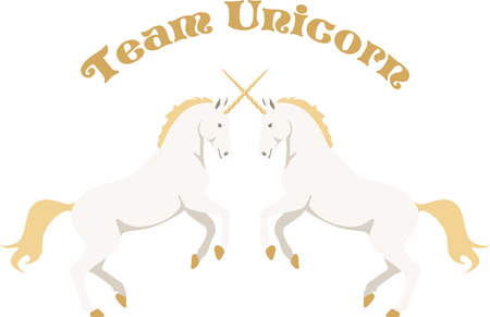 mythological character: Beautiful unicorns are a wonderful fantasy project. Illustration