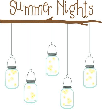 Fireflies in einem Glas sind eine gute Sommerdekoration. Standard-Bild - 43916731