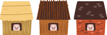 three little pigs: A nursery rhyme will make a great decoration in a childs room. Illustration