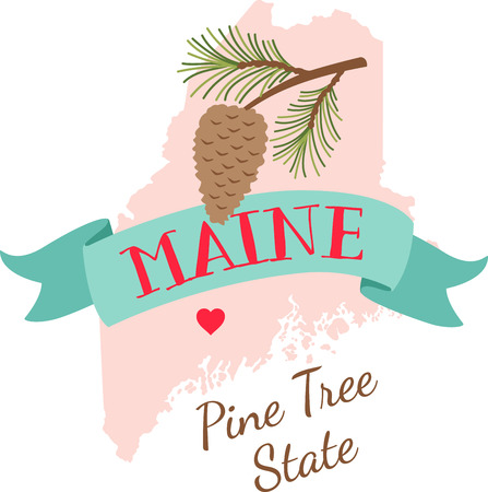 pinecone: Show your love for your favorite state and its flower. Illustration