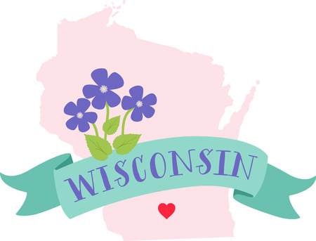 wisconsin: Show your love for your favorite state and its flower. Illustration
