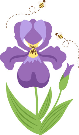 buzzing: Welcome the Spring day with this blooming Purple flower and buzzing Bees designed by Hopscotch. Illustration