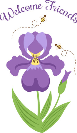 fleur mauve: Welcome the Spring day with this blooming Purple flower and buzzing Bees designed by Hopscotch. Illustration