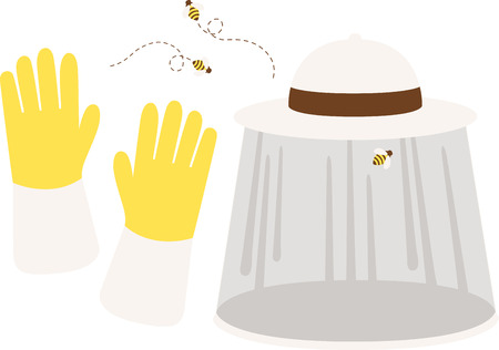 best way: It is a best way for an Bee keeper to wear Hat and Gloves to get protected from Bees sting.  Illustration