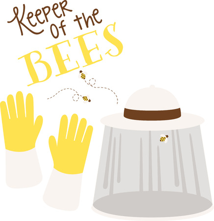 keeper: It is a best way for an Bee keeper to wear Hat and Gloves to get protected from Bees sting.  Illustration