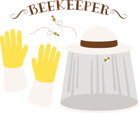 beekeeper: It is a best way for an Bee keeper to wear Hat and Gloves to get protected from Bees sting.  Illustration