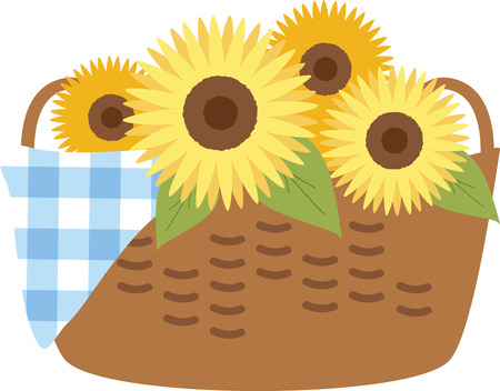 aster: Sunflower basket is the perfect gift to wish your loved one on their special occasion.  Illustration
