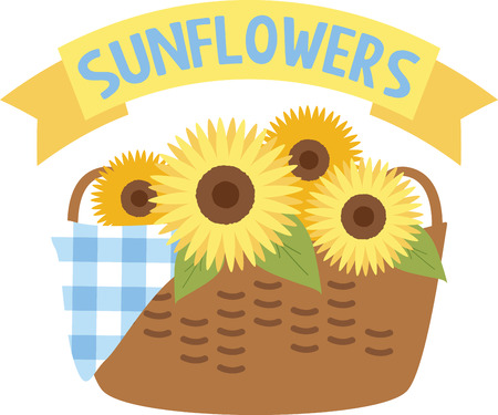 pg: Sunflower basket is the perfect gift to wish your loved one on their special occasion.  Illustration