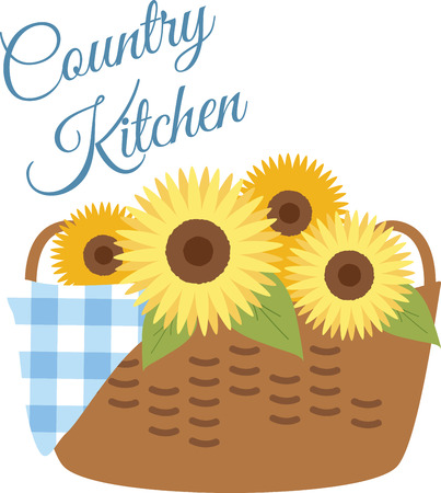 country kitchen: Sunflower basket is the perfect gift to wish your loved one on their special occasion.  Illustration