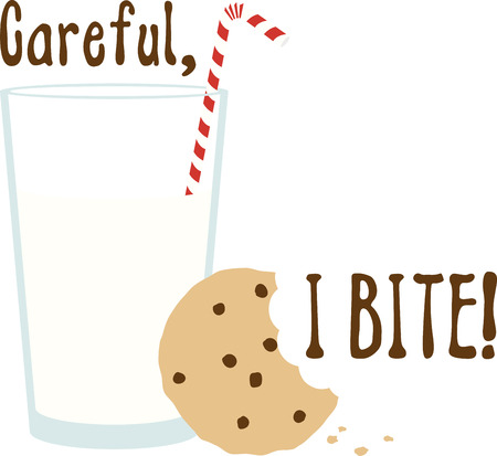 milk and cookies: Kids love a snack of milk and cookies. Illustration
