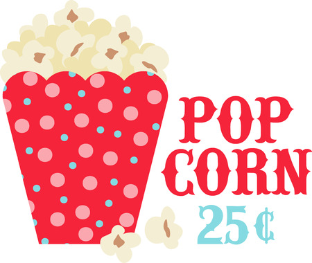 buttered: Popcorn for movie night is perfect for the family. Illustration