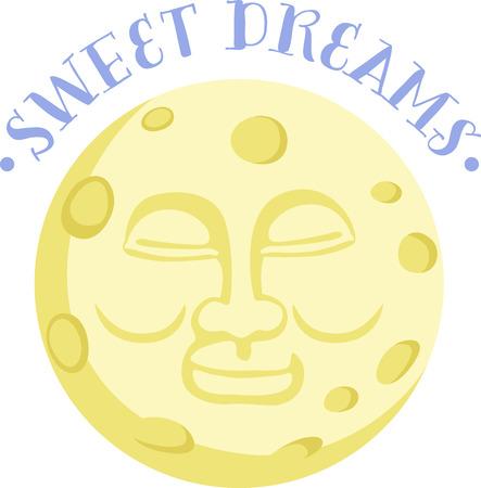 Een gelukkig geconfronteerd maan zal een mooi ontwerp op pyjama van een kind te maken.