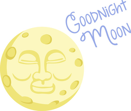 faced: A happy faced moon will make a nice design on a childs pajamas.
